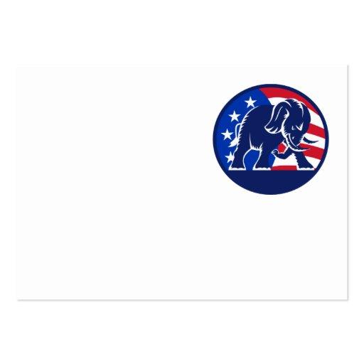 Republican Elephant Mascot USA Flag Business Card Templates