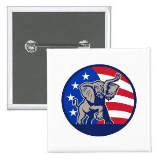 Republican Elephant Mascot USA Flag 2 Inch Square Button