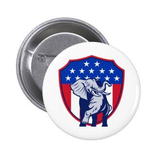 Republican Elephant Mascot USA Flag 2 Inch Round Button