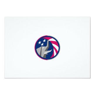 Republican Elephant Mascot USA Flag Circle Retro Card