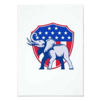 Republican Elephant Mascot USA Flag 4.5x6.25 Paper Invitation Card