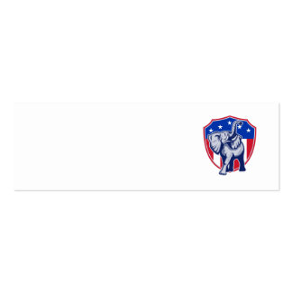 Republican Elephant Mascot USA Flag Shield Business Card Template