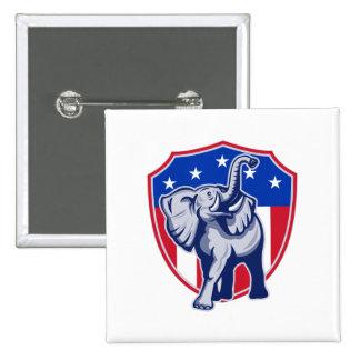 Republican Elephant Mascot USA Flag Shield 2 Inch Square Button