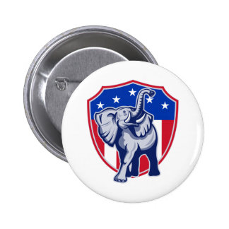 Republican Elephant Mascot USA Flag Shield 2 Inch Round Button