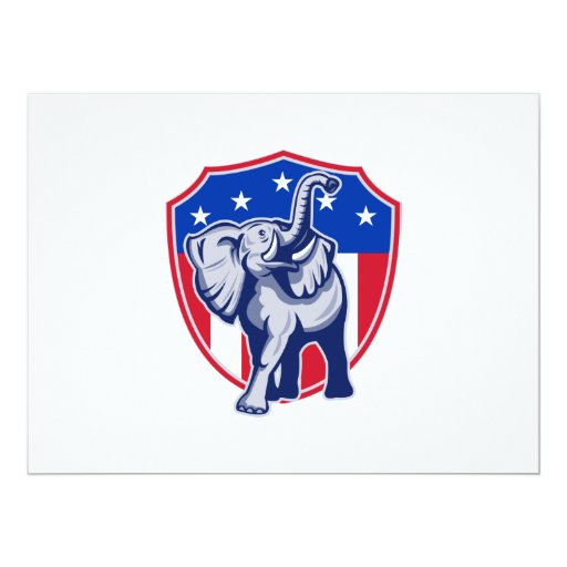 Republican Elephant Mascot USA Flag Shield 6.5x8.75 Paper Invitation Card