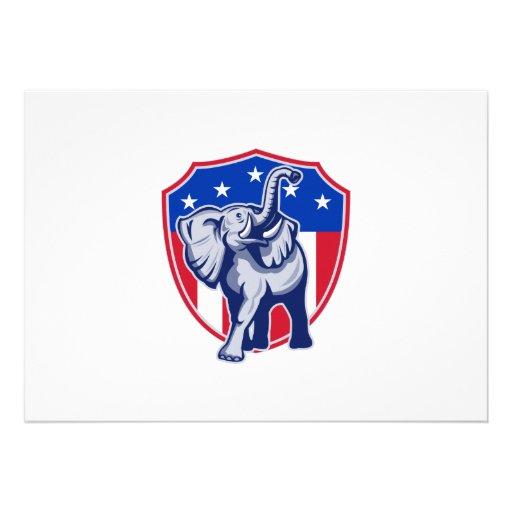 Republican Elephant Mascot USA Flag Shield Personalized Announcements