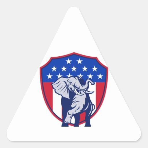 Republican Elephant Mascot USA Flag Triangle Sticker