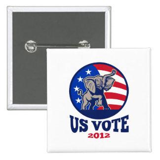Republican Elephant Mascot USA Flag Vote 2 Inch Square Button