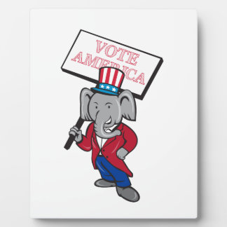 Republican Elephant Mascot Vote America Cartoon Plaque