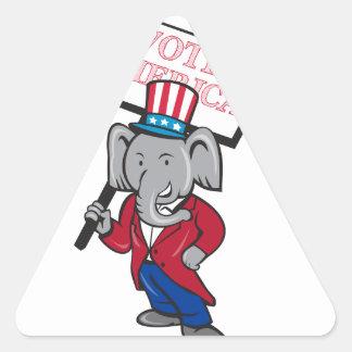Republican Elephant Mascot Vote America Cartoon Triangle Sticker
