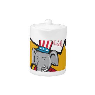 Republican Elephant Mascot Vote America Circle Car Teapot