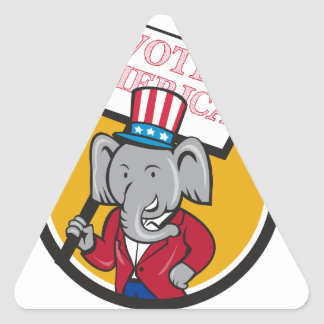Republican Elephant Mascot Vote America Circle Car Triangle Sticker