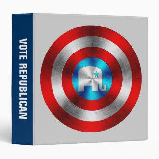 Republican Elephant Metal Shield 3 Ring Binder