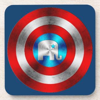 Republican Elephant Metal Shield Drink Coaster