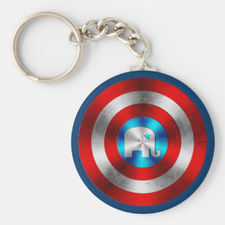 Republican Elephant Metal Shield Keychain