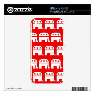 REPUBLICAN ELEPHANT PATTERN RED AND WHITE.png Decal For The iPhone 4
