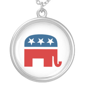 Republican Elephant Silver Plated Necklace