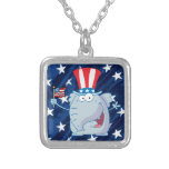 republican elephant tophat necklace