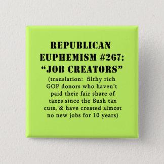 Republican Euphemism Job Creators JOKE Pinback Button