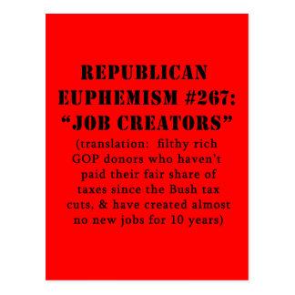 Republican Euphemism Job Creators JOKE Postcard