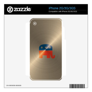 Republican Logo In Gold Decal For iPhone 3GS