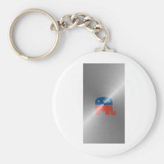 Republican Logo In Steel Keychain