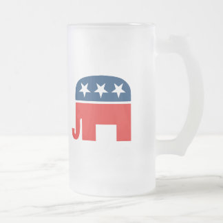 Republican Mascot Frosted Glass Beer Mug