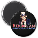 Republican, Not On Welfare 2 Inch Round Magnet