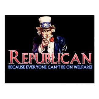 Republican, Not On Welfare Postcard