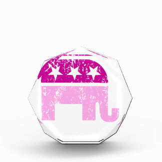 Republican Original Elephant Distressed Pink Acrylic Award