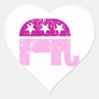 Republican Original Elephant Distressed Pink Heart Sticker