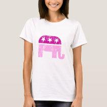 Republican Original Elephant Distressed Pink T-Shirt