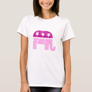 Republican Original Elephant Distressed Pink T-Shirt