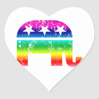 Republican Original Elephant Distressed Rainbow Heart Sticker