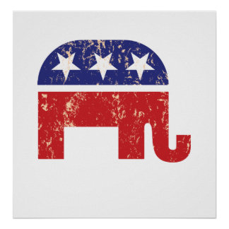 Republican Original Elephant Distressed Tan Print