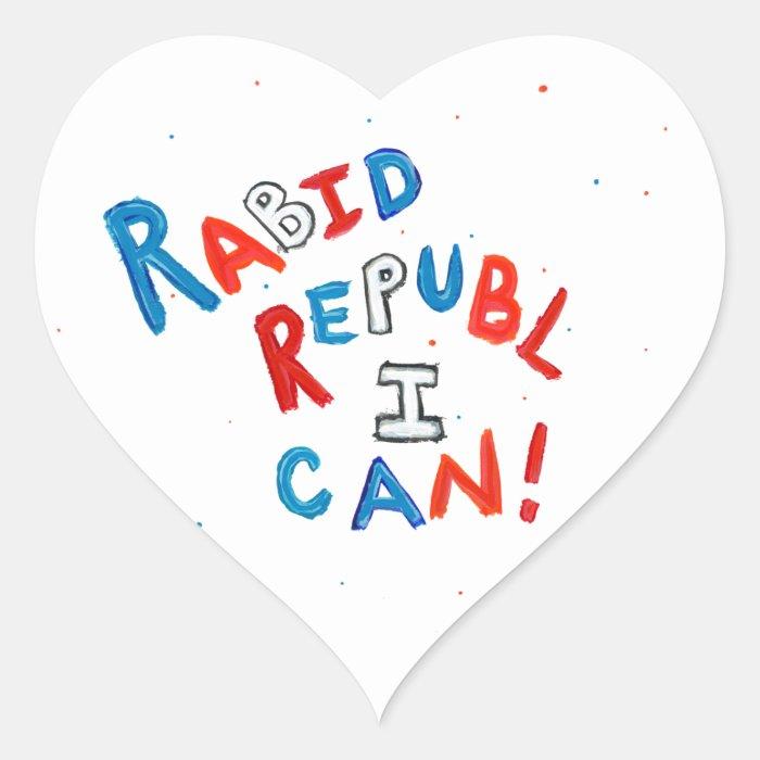 Republican passionate rabid supporter fun word art heart sticker