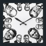 """Republican Presidents Wall Clock<br><div class=""""desc"""">Wall Clock featuring a sampling of Republican Presidents including Reagan,  Hoover,  Roosevelt,  Lincoln,  Harding,  McKinley,  Nixon,  Bush Sr &amp; Jr,  Eisenhower,  Coolidge &amp; Ford. You can count the hours until the next election.</div>"""