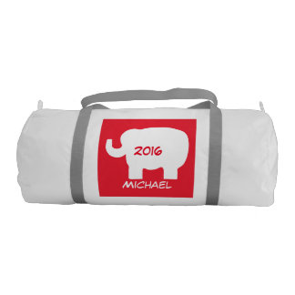 Republican Red White Elephant Name Personalized Gym Bag