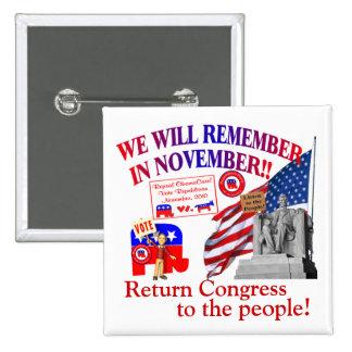 Republican Remember In November Anti ObamaCare 2 Inch Square Button