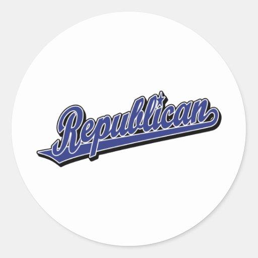 Republican Script Logo Deluxe Blue Round Stickers