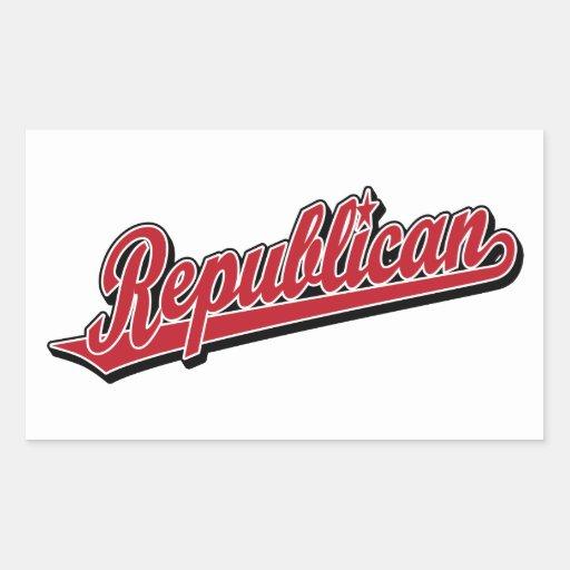 Republican Script Logo Deluxe Red Rectangle Stickers