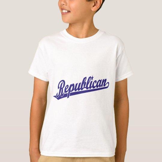 Republican Script Logo Simple Blue T-Shirt
