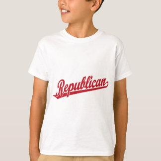 Republican Script Logo Simple Red T-Shirt