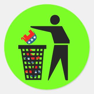 Republican trash classic round sticker
