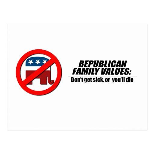 Republican Values - Don't get sick Postcard