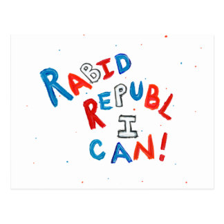 Republican voter rabid supporter fun word art postcard
