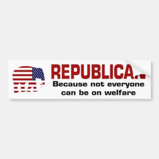 Republican Welfare Sticker Car Bumper Sticker