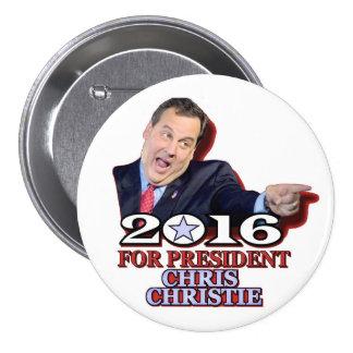 Republicano de Chris Christie para el presidente Pin Redondo De 3 Pulgadas