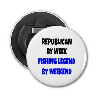 Republicano de la leyenda de la pesca abrebotellas redondo