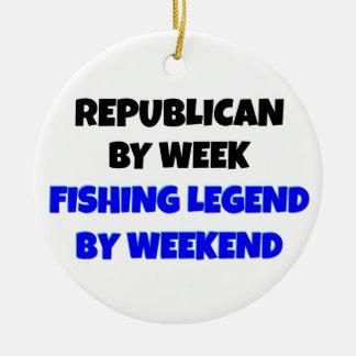 Republicano de la leyenda de la pesca adorno redondo de cerámica